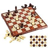 UNEEDE Magnetisch Schachspiel 31.2x31.2CM Einklappbar Schachbrett Pädagogische mit Magnetischem,Damespiel Deluxe