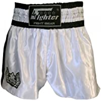4Fighter Shorts Muay Thai Classic blanco-negro logo en la pierna, Talla:XL