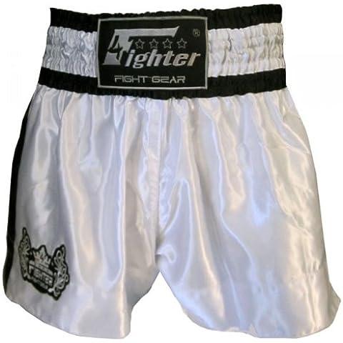 4Fighter Muay Thai Short Classic in bianco-nero con 4fighter logo sulla gamba, Taille:XXS - Muay Thai Kickbox Shorts