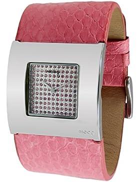 Moog Paris Petals Damen Uhr mit Silbernem Zifferblatt, Swarovski Elements & Rosanem Armband aus echtem Schlangenleder...