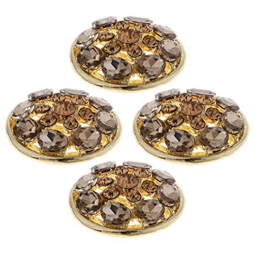 Sharplace 4 Pezzi di Pressione Decorativa Pulsante Spilla di Strass per Gioielli per Capelli da Cucire