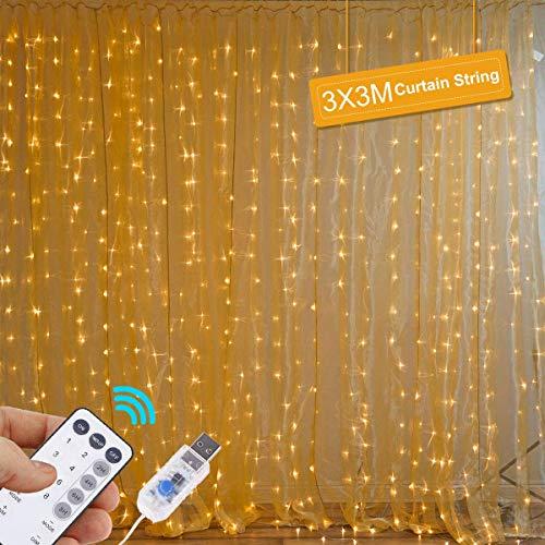 SanGlory 300 LED Lichterkette Warmweiß Fernbedienung 3M*3M IP65 Wasserfest LED Lichtervorhang Lichterkettenvorhang USB 8 Modi für zimmer Weihnachten Halloween Hochzeit Party Schlafzimmer Haus Deko
