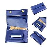 Tabaksbeutel aus echtem Leder, mit Paper-Spender und Fach für Filter, Herren damen, Blau 2