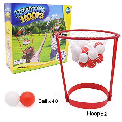 Georgie Porgy Kinder Stirnband Hoop Basketball Spiel Kopf Strap Balls Kinder Outdoor-Bildung Spielzeug (Stirnband Hoops 40 Bälle) - Basketball-spiel Ball