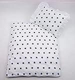 Rawstyle 4 tlg. Set Bezug (Weiß + Sterne Marineblau) für Kinderwagen Garnitur Bettwäsche Decke + Kissen + Füllung