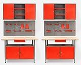 Große Werkstatteinrichtung bestehend aus 2 x Werkbank mit 2 abschließbaren Türen, 2 x Werkstattschrank mit zwei abschließbaren Türen und 2 x Lochwand Metall mit 14tlg. Hakensortiment. Topp Preis / Leistungsverhältnis