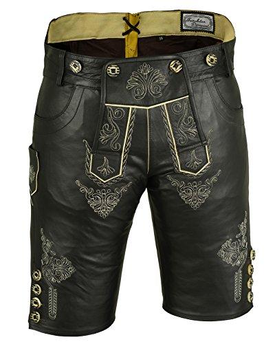 dirndloutlet Damen Trachten Kniebund Lederhose aus feinem Nappa mit Stickereien, Schwarz,Gr.42