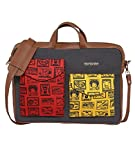 #8: Funk For Hire Printed Cotton Canvas and Faux Leather Red, Yellow and Grey Laptop sling Bag fit up to 17