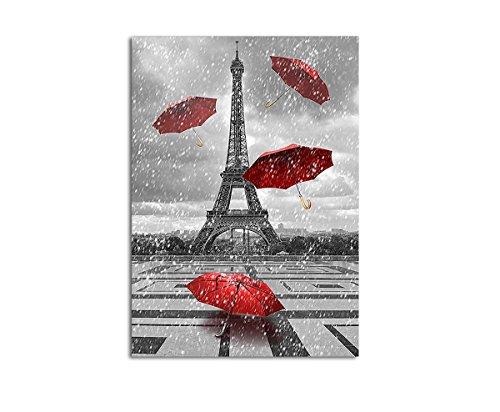 Wandbild XXL Abstrakt Eifelturm Paris rote Regenschirme Eyecatcher auf Leinwand und Keilrahmen. Beste Qualität, handgefertigt in Deutschland! 120x80cm