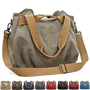 SCIEU Handtasche Damen Canvas Schultertasche Multifunktionale Umhängetaschen Casual Hobo Groß Taschen für Arbeit Schule…