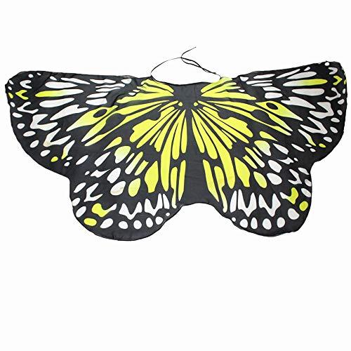 WOZOW Damen Schmetterling Flügel Kostüm Nymphe Pixie Umhang Faschingkostüme Schals Poncho Kostümzubehör Zubehör (Gelb) (Voodoo Pirat Kostüm)