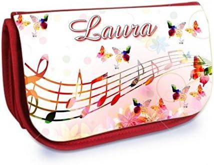 Trousse Trousse Trousse à Maquillage Rouge Musique personnalisée avec prénom B07MT9C23W 1b7ca8