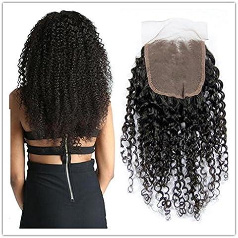 XQXHair 10A 100% brasiliano non trattato Afro crespo capelli ricci Chiusura libero / Medio / Tre 3 Parte Disponibile umani del Virgin del merletto dei capelli Chiusura Kinky onda , 18inch