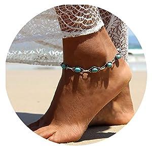 Bishilin 1 Pcs/2 Pcs Damen Fußketten Boho Silber mit Türkis Fuß Kette Silber Knöchelkette