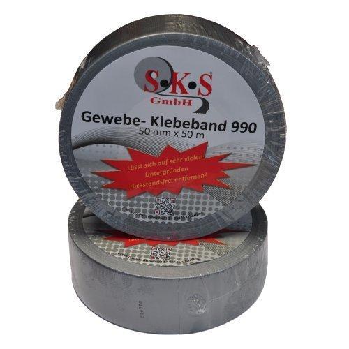 SKS 980 Universal Gewebeband Silber 50mm x 50m Steinband Panzerband #73128