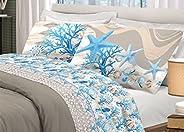 BIANCHERIAWEB Completo Lenzuola in 100% Cotone Disegno Marina Matrimoniale Azzurro