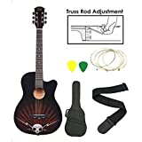 Kadence Zabel Acoustic Guitar with Truss Rod Combo with Bag, Strap, One Pack Strings (ZBL-ZBTR-11, Black)