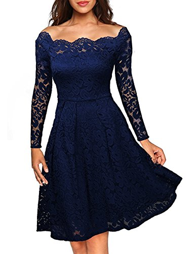 KOJOOIN Damen Kleid Spitzenkleid Abendkleid Partykleid Knielang A-Linie Langarm Blau 36 (Asin M)