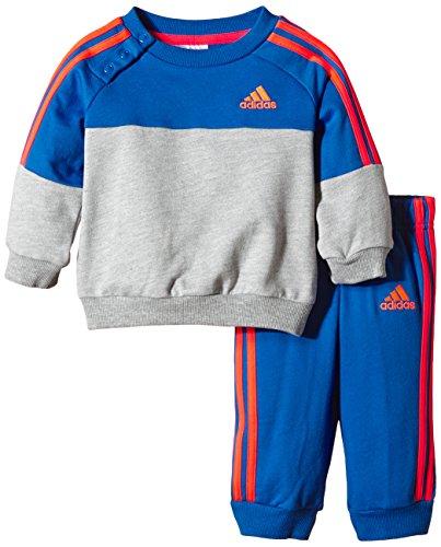 adidas Baby Jogginganzug Crew, Grau/Blau/Rot, 80, S21415