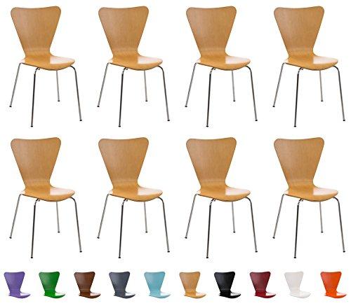 CLP 8x robuster und pflegeleichter Stapelstuhl CALISTO mit Holzsitz & ergonomisch geformter Sitzfläche, FARBWAHL natura