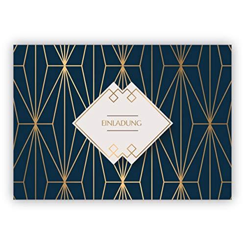 Im 5er Set: Feine Art Deco universal Einladungskarte mit Gold Optik in blau zum Geburtstag, Essen, Hochzeit, Konfirmation: Einladung