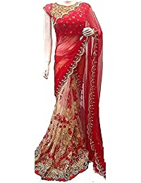 Nena Fashion Branded Women's Beautiful Georgette Saree With Blouse Piece - Red