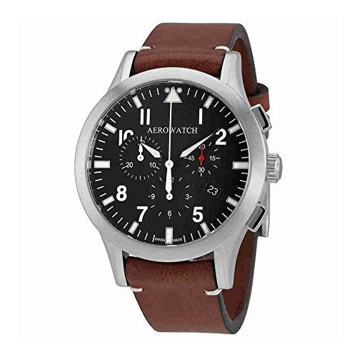 aerowatch the grand classics pilot chronograph black dial swiss made mens watch a 83966 aa03