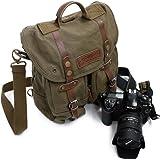 iDream – Professionnel 2 en 1 sac à dos & Sac bandoulière canvas étanche pour appareil photo reflex DSLR SLR Canon Nikon Pentax pour ordinateur Apple Lenovo Asus – café