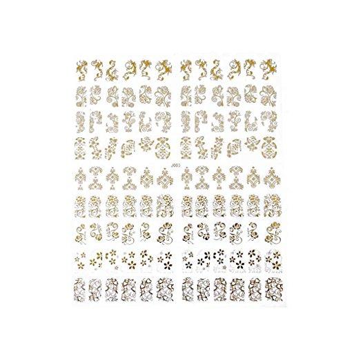 Babysbreath 6 Farben Nails Aufkleber Maniküre Paste Blumen-Nagel-Kunst-Aufkleber-Abziehbild 3D-Dekorationen Gold