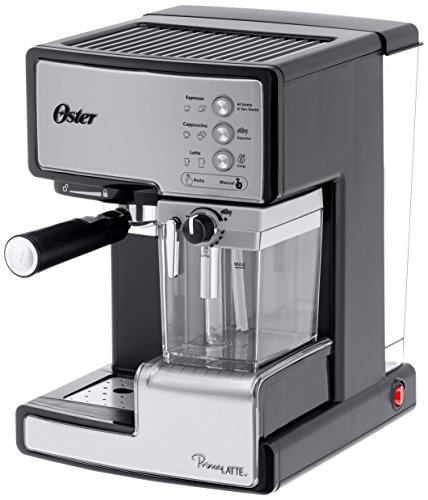 Oster Prima Latte - Cafetera espreso con tratamiento de leche, 15 bares de potencia (Plata)