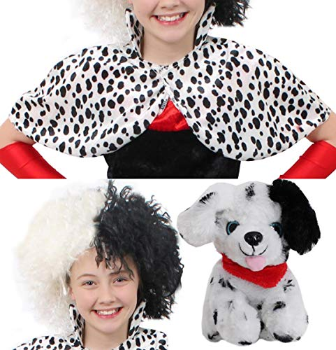 Dalmatiner-Cape, Cruella-De-Vil-Kostüm, ideal für Fasching, Halloween und Schulveranstaltungen, Kostüm-Zubehör (Cruella Kostüm Zubehör)