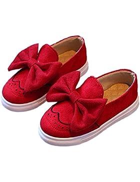 Minetom Chica Casual Adorable Color Sólido Arco Lona Zapatos Moda Bebé Niña Suave Y Cómodo Princesa Plana Calzado...