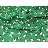Pudding de Noël en polycoton imprimé Vert Tissu de robe–au mètre