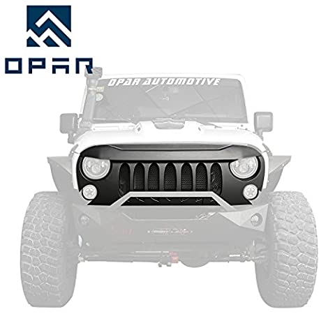 Opar Matte Black Demon Front Grille w / Mesh Insert pour 2007 - 2017 Jeep JK Wrangler & Unlimited