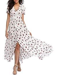 da418c21180e VOGMATE Femme Robe Chic Longue Col V à Fleur Manches Courtes en Coton Robe  Maxi de