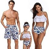 WANZIJING Traje de baño para la Familia Impreso Bikini de Cintura Alta con Volantes Traje de baño de Padres e Hijos Traje de baño a Juego Familiar Ropa de Playa