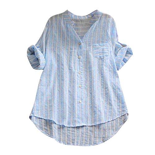 iHENGH Damen Herbst Winter Bequem Lässig Mode Frauen Baumwolle gestreiftes Dreiviertelhülsen Hemd beiläufige lose Bluse Knopfoberseiten(L,Blau)
