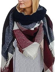 HENGSONG Écharpe Chale Femme Cachemire Chaud Automne Hiver Grand Plaid Tissu Glands Foulard