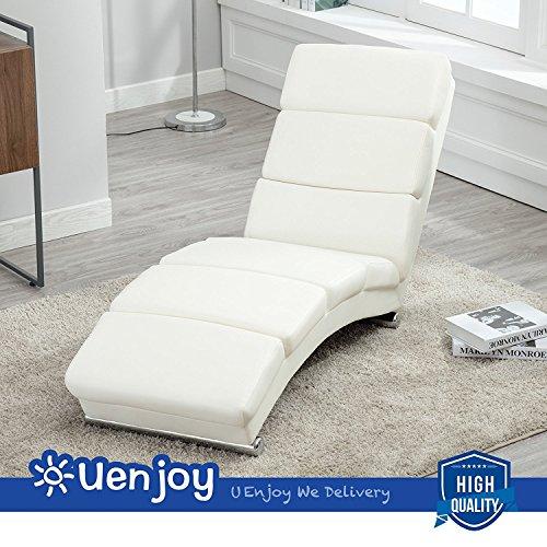UEnjoy Relaxliege Wohnzimmer Leder Liegestuhl Relaxsessel Modern weiß