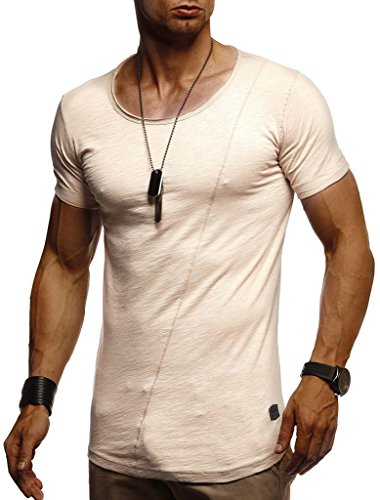 LEIF NELSON Herren Sommer T-Shirt Rundhals-Ausschnitt Slim Fit Baumwolle-Anteil | Moderner Männer T-Shirt Crew Neck Hoodie-Sweatshirt Kurzarm lang | LN8209 Beige X-Large -