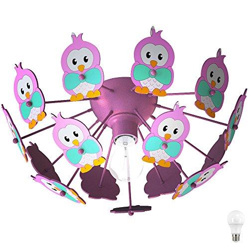 Kinder Spiel Zimmer Decken Beleuchtung Lampe Eulen Motive Leuchte im Set inklusive LED Leuchtmittel