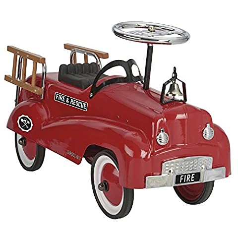 Children's Ride-On Red Fire Truck, Push Along Retro / Vintage Vehicle with Working Bell, Steering Wheel and Decorative Ladders