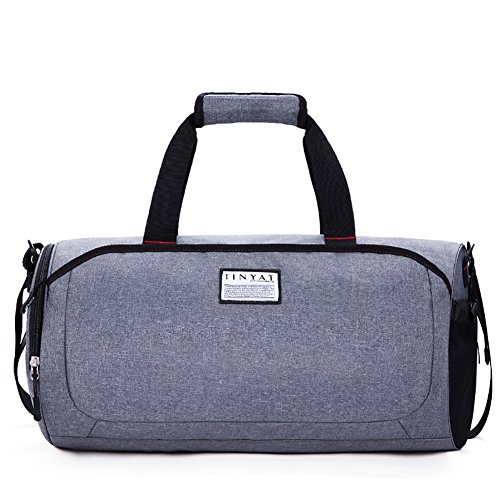 NiNE CiF Neun CIF Turnbeutel Exercise Bucket Bag Duffle Reisetasche mit Shoes Herren Fach für Frauen L Grau (Mit Schuhfach Fitnessraum)
