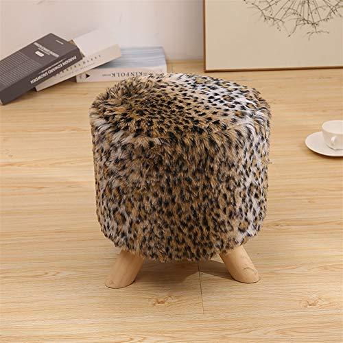 Ommda Rund Kleiner Fellimitat polsterhocker kunstfell Pouf Hocker Sitzhocker Sofa Sitzhocker Kunstfell Fußhocker mit Stuhl Fußbank Massivholz holzbeine Leopardenmuster 30x33cm