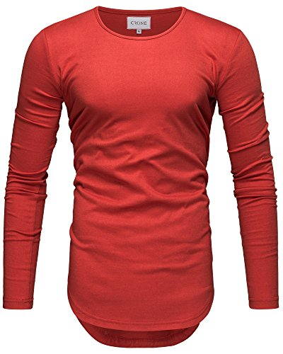 Crone Herren Langarm Shirt Longsleeve Slim Fit T-Shirt Leicht Oversize Basic Sweatshirt in Vielen Farben (XXL, Rot)