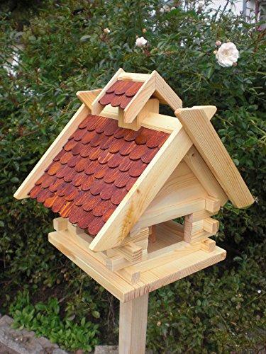 Vogelhaus mit Ständer-(V01+S1) Braun-Vogelhäuser Vogelfutterhaus Vogelhäuschen-aus Holz- Schreinerarbeit- - 2