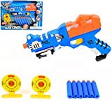 #7: Vivir Baby Girl's and Boy's Blasting Gun Toys with 6 Foam Soft Bullet Stick and 2 Target Aim (Blue)