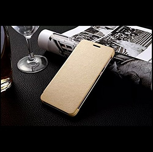 CarryWrap Imported leather type flip cover for Vivo Y55 L – Gold