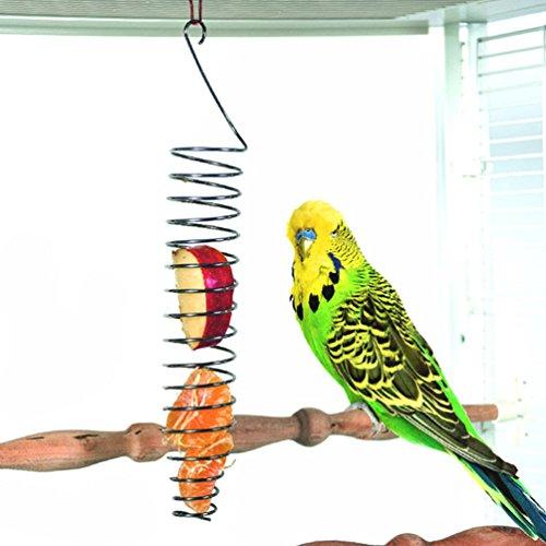 Obst- und Gemüsehalter für Vögel, aus Edelstahl, Frucht-/Gemüse-Spieß für Papageien, Wellensittiche, Sittiche, Nymphensittiche