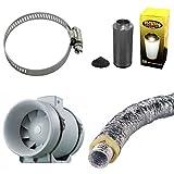 Kit estrattore turbo + filtro carbone + tubo flessibile fonoassorbente 10cm + Omaggio
